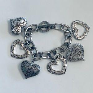 Vintage Silver Plated Heart Charm Bracelet